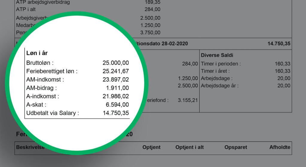 lønseddel beskrivelse af saldi