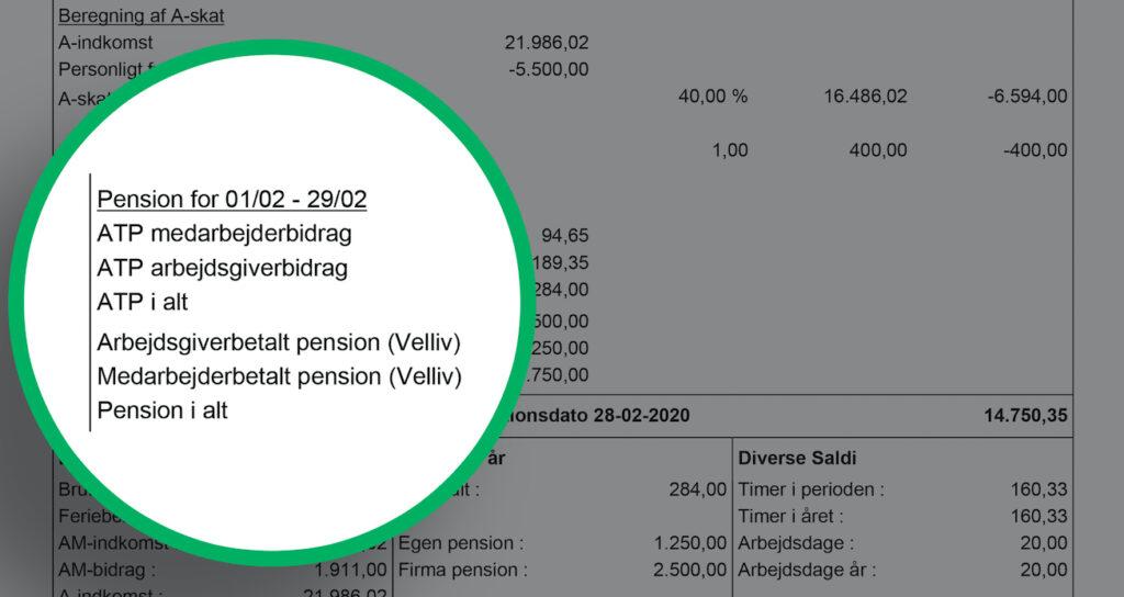 Lønseddel beskrivelse af pensionsafsnit